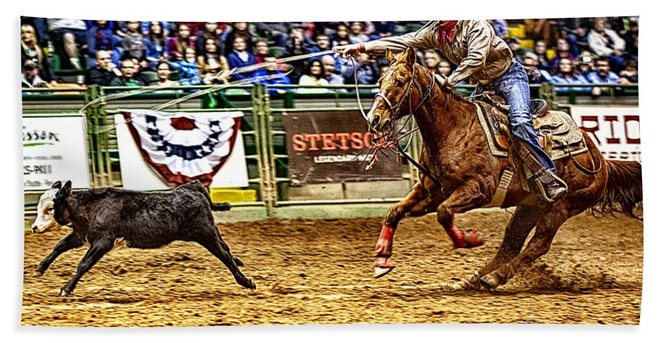 Night Hand Towel featuring the photograph A Night At The Rodeo V10 by Douglas Barnard