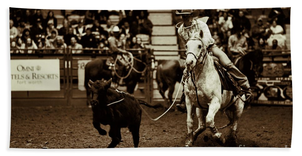 Night Hand Towel featuring the photograph A Night At The Rodeo V14 by Douglas Barnard