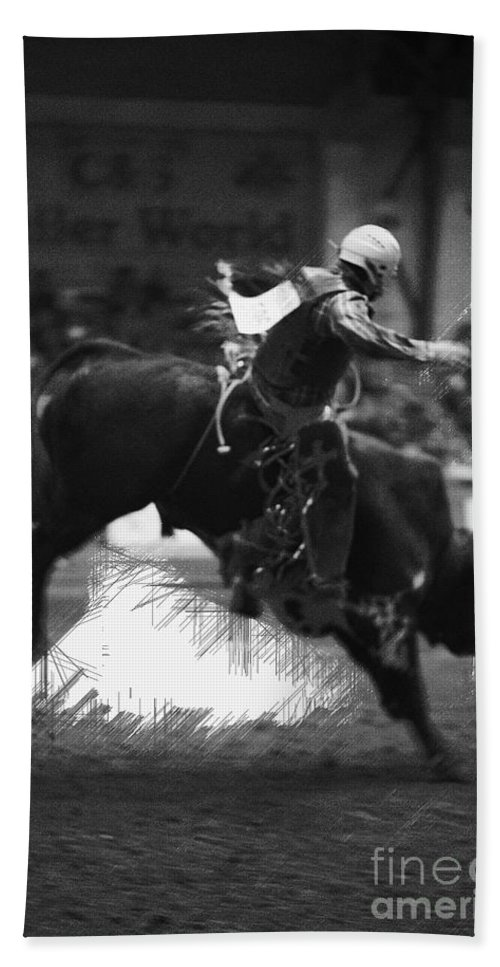 Night Hand Towel featuring the photograph A Night At The Rodeo V4 by Douglas Barnard