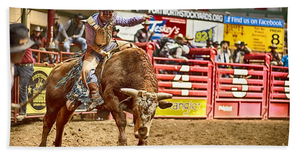 Night Hand Towel featuring the photograph A Night At The Rodeo V5 by Douglas Barnard