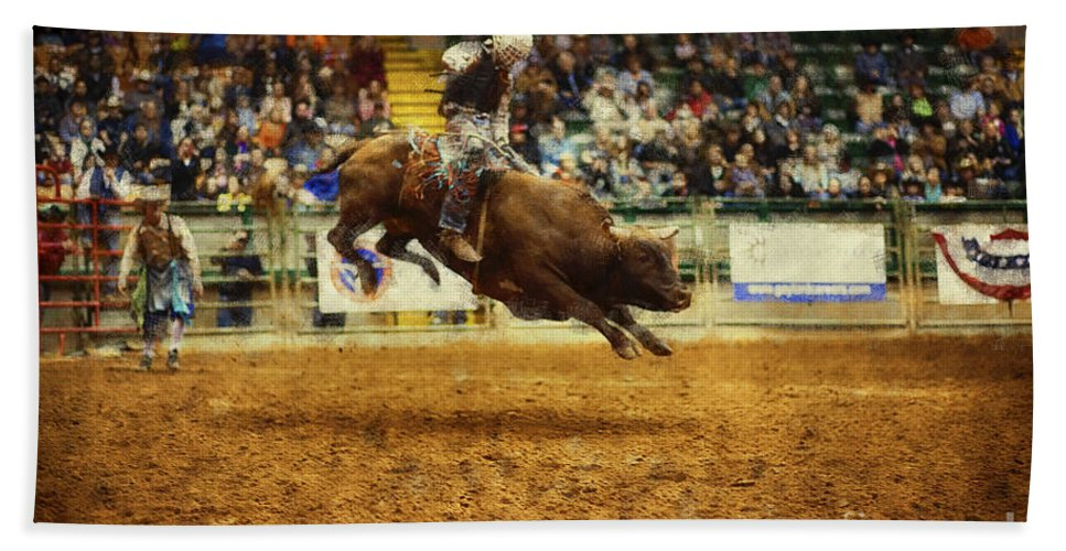 Night Hand Towel featuring the photograph A Night At The Rodeo V7 by Douglas Barnard