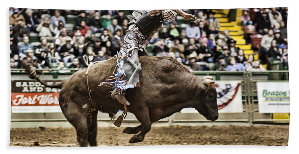 Night Hand Towel featuring the photograph A Night At The Rodeo V8 by Douglas Barnard
