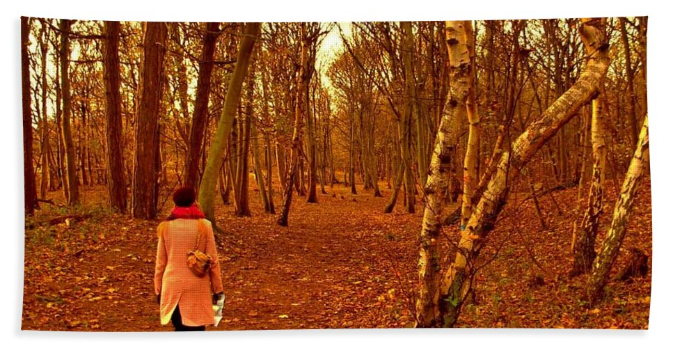 Late Autumn Bath Sheet featuring the photograph A November Stroll Through Formby Woods by Joan-Violet Stretch