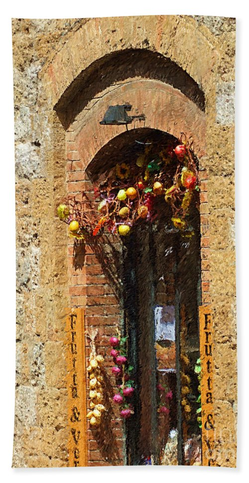 Tuscany Bath Sheet featuring the photograph A Painting A Tuscan Shop Doorway by Mike Nellums