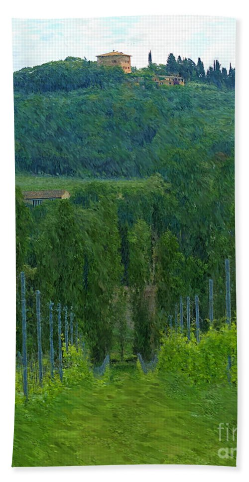 Tuscany Bath Sheet featuring the photograph A Painting A Tuscan Vineyard And Villa by Mike Nellums