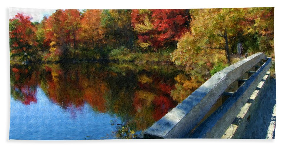 Painting Hand Towel featuring the photograph A Painting Autumn Lake And Bridge by Mike Nellums