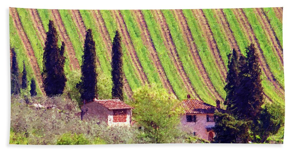 Tuscany Bath Sheet featuring the photograph A Painting Tuscan Vineyard by Mike Nellums