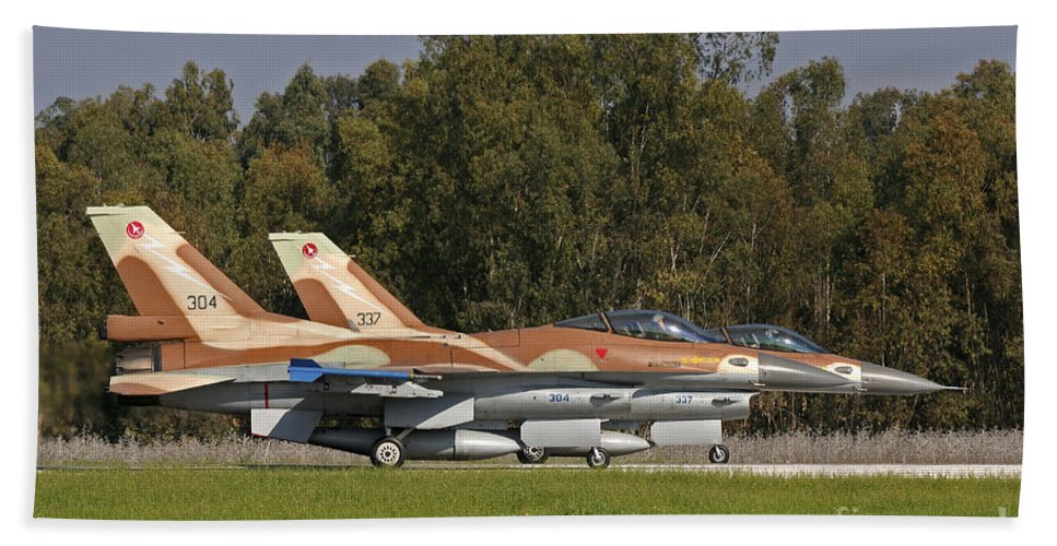 Transportation Bath Sheet featuring the photograph A Pair Of F-16c Barak Of The Israeli by Ofer Zidon