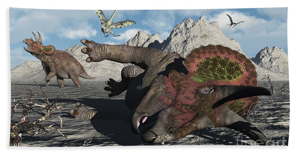 Artwork Hand Towel featuring the digital art A Pair Of Triceratops Trapped by Mark Stevenson