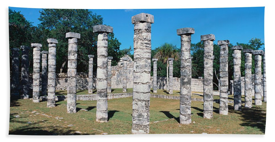 Photography Bath Sheet featuring the photograph A Panoramic View Of Columns Surround by Panoramic Images