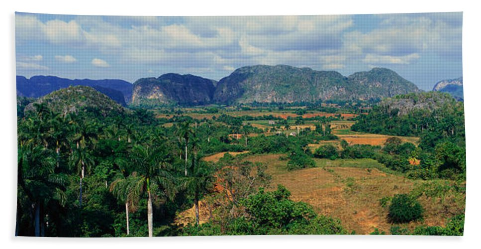 Photography Hand Towel featuring the photograph A Panoramic View Of The Valle De by Panoramic Images