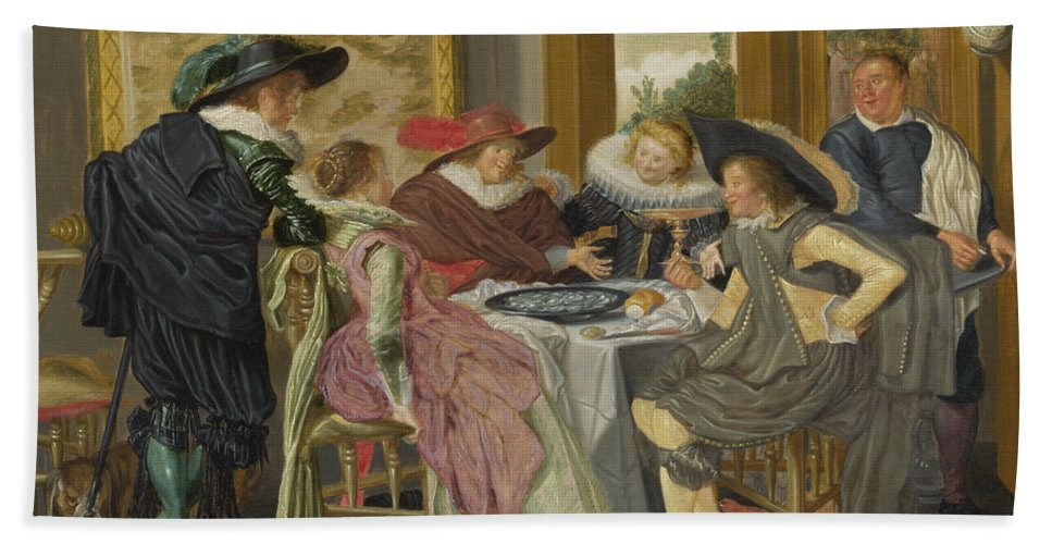 Dirck Hals Bath Sheet featuring the painting A Party At Table by Dirck Hals