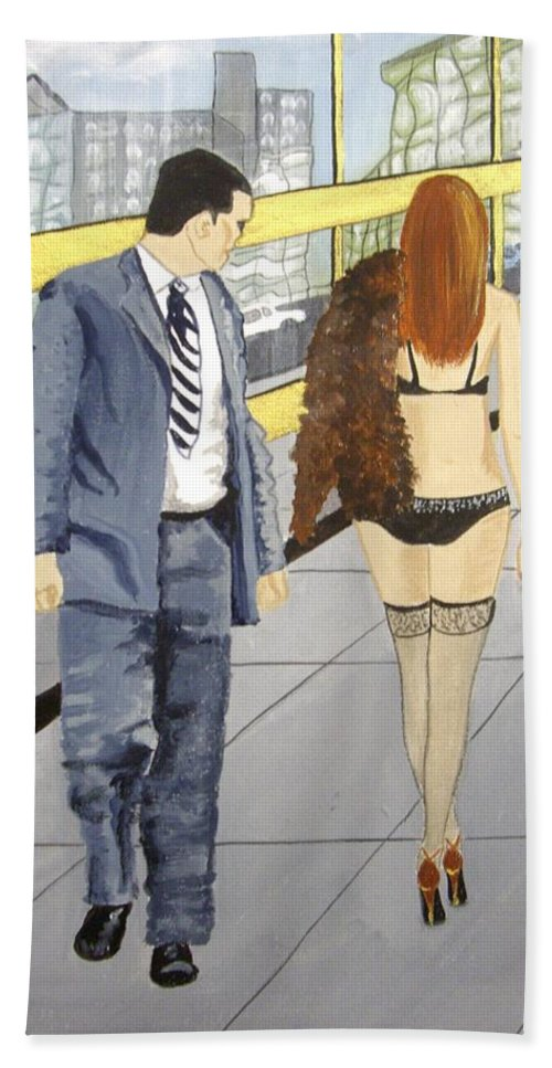 Film Noir Bath Sheet featuring the painting A Passing Fancy by Rosemarie Temple-Smith