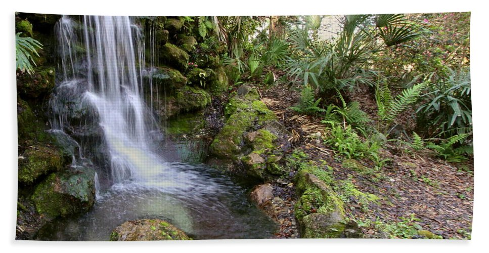 Waterfall Hand Towel featuring the photograph A Peaceful Place by Myrna Bradshaw