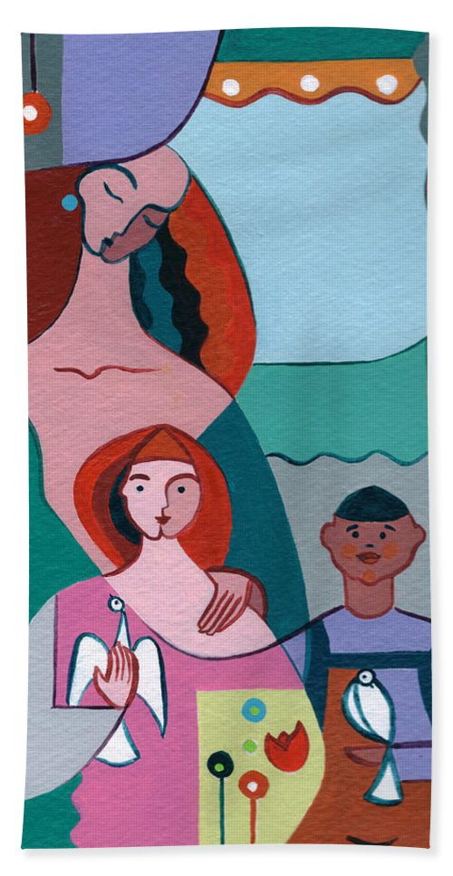 Peace Bath Towel featuring the painting A Peaceful World For Our Children by Elisabeta Hermann