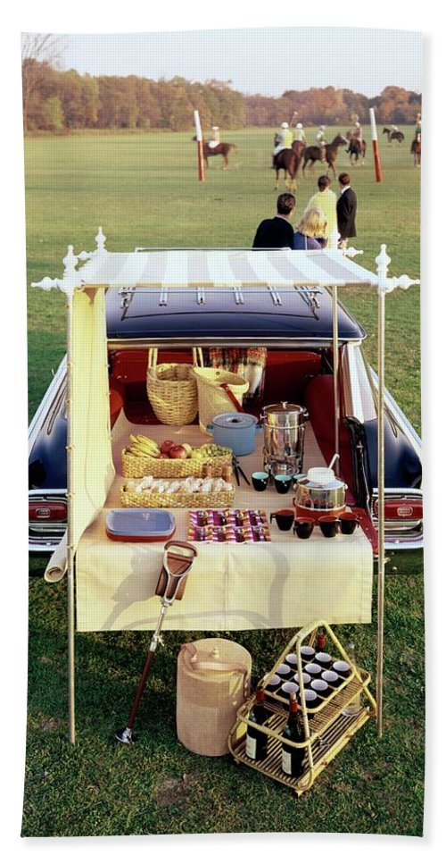 Food Bath Towel Featuring The Photograph A Picnic Table Set Up On The Back  Of A