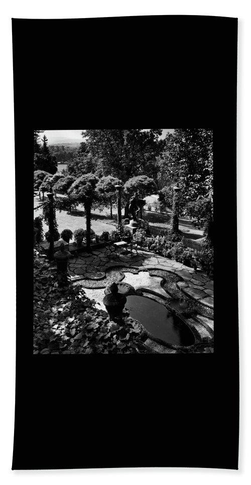 Garden Bath Towel featuring the photograph A Pond In An Ornamental Garden by Gottscho-Schleisner