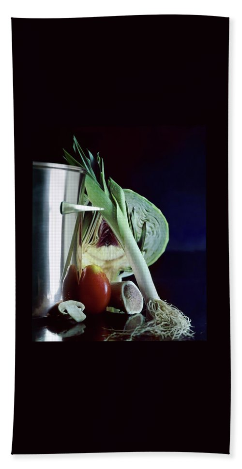 Still Life Bath Towel featuring the photograph A Pot With Assorted Vegetables by Fotiades