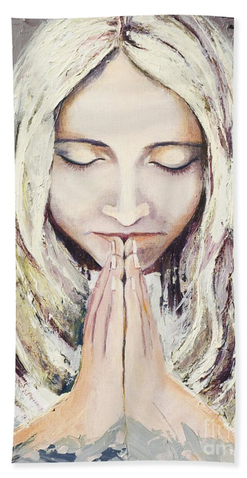 Acrylic Hand Towel featuring the painting A Prayer... by Elisabeta Hermann