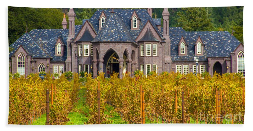 Tirza Roring Photography Hand Towel featuring the photograph The Ledson Castle - Kenwood, California by Tirza Roring