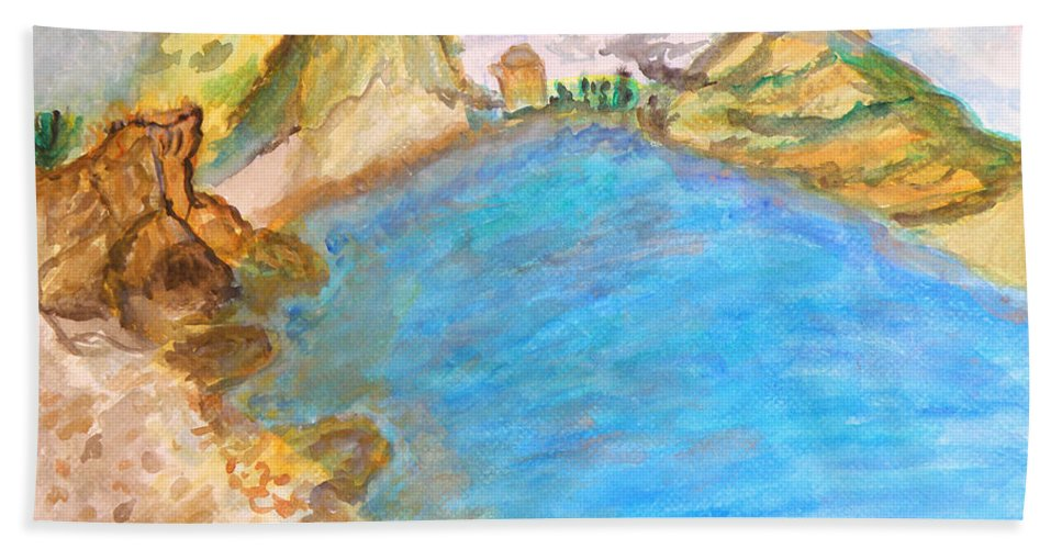 Quiet Beach Near Limassol Hand Towel featuring the painting A Quiet Beach by Augusta Stylianou