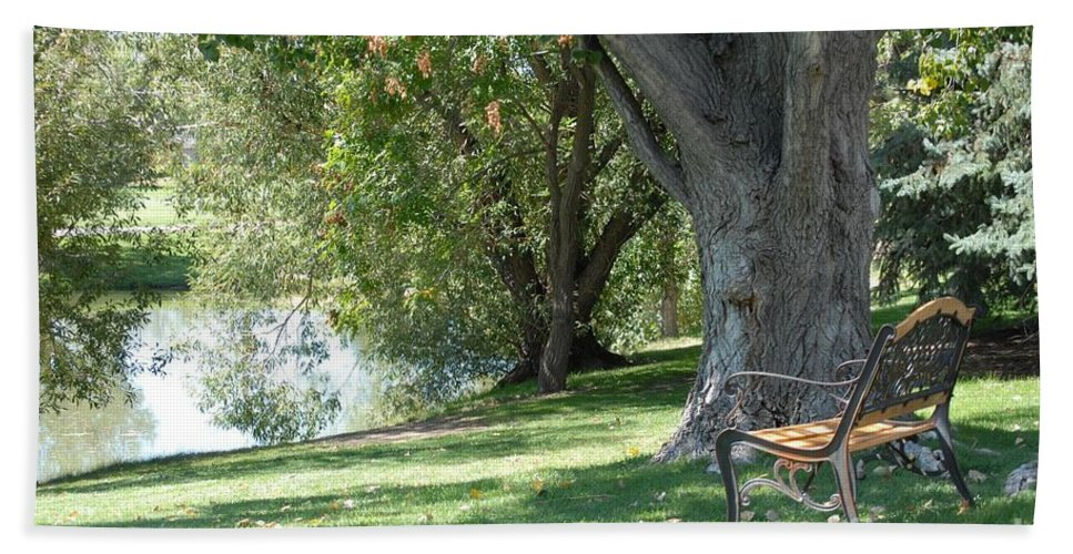 Lake Bath Sheet featuring the photograph A Quiet Place by Angela Koehler