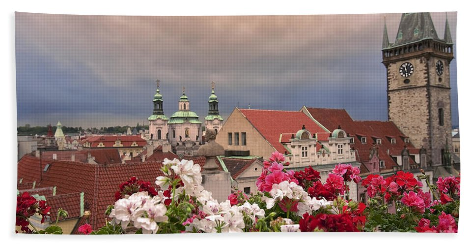 Prague Hand Towel featuring the photograph A Rainy Day In Prague 2 by Madeline Ellis