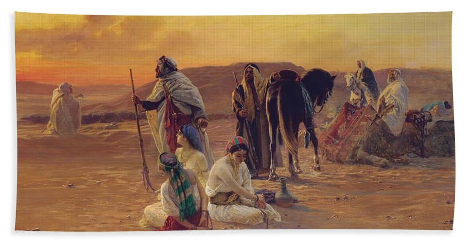 Rest Bath Sheet featuring the painting A Rest In The Desert by Otto Pilny