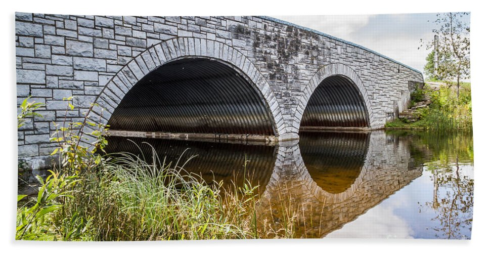 Bridge Bath Sheet featuring the photograph A River Runs Through It by Nikki Vig