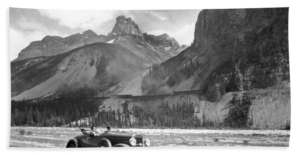 1035-654 Hand Towel featuring the photograph A Roadster In The Rockies by Underwood Archives