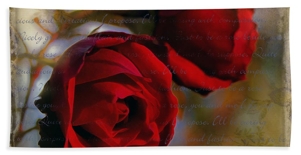 Rose Floral Love Valentine Bath Sheet featuring the photograph A Rose Beside A Rose by Hal Halli