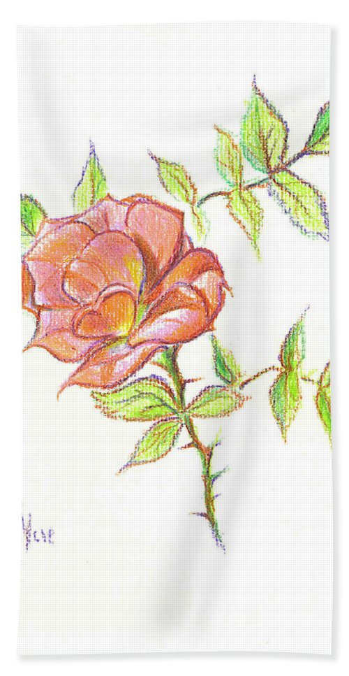 A Rose In Brigadoon Bath Towel featuring the drawing A Rose In Brigadoon by Kip DeVore