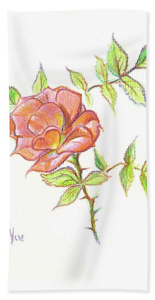 A Rose In Brigadoon Bath Sheet featuring the drawing A Rose In Brigadoon by Kip DeVore