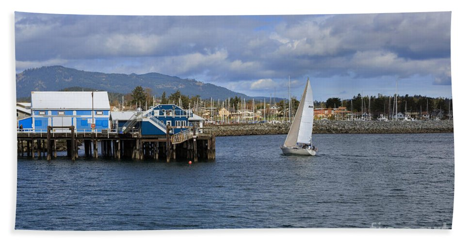 Sidney Bath Sheet featuring the photograph A Sailing Yacht Passes The Wharf In Sidney Harbour by Louise Heusinkveld