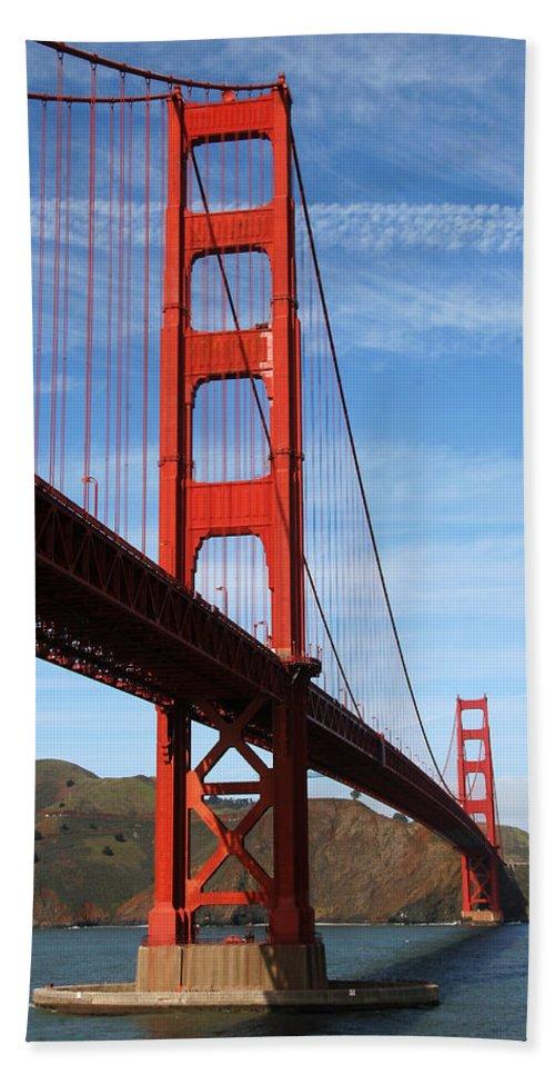 Golden Gate Bridge Bath Sheet featuring the photograph A San Francisco Icon by Robert Woodward