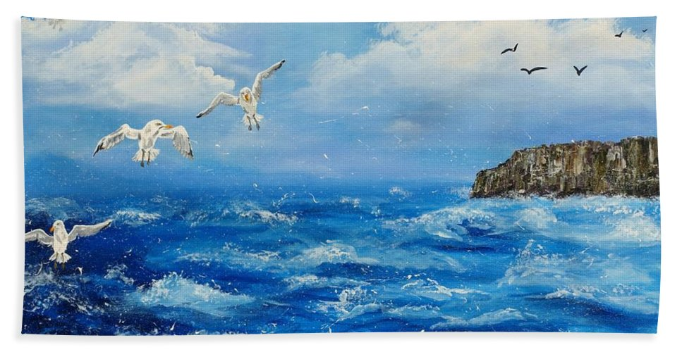 Kilkee Bath Sheet featuring the painting A Seagull's View George's Head Kilkee Co. Clare by Corina Hogan