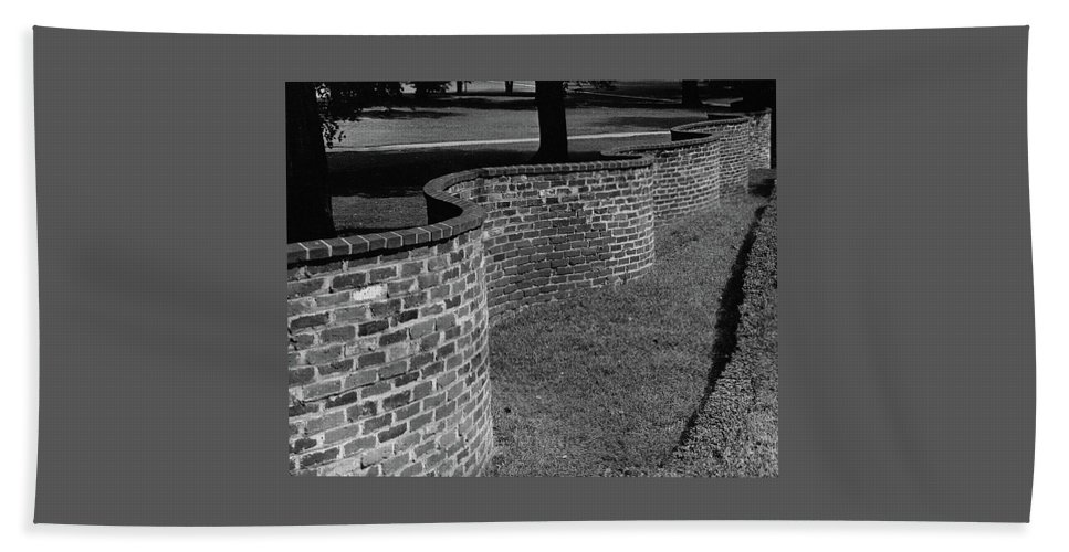 Exterior Bath Towel featuring the photograph A Serpentine Brick Wall by William and Neill Dingledine