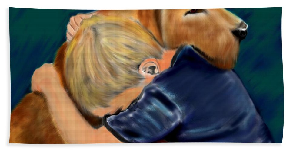 Dog Bath Sheet featuring the painting A Shoulder To Cry On by Shere Crossman