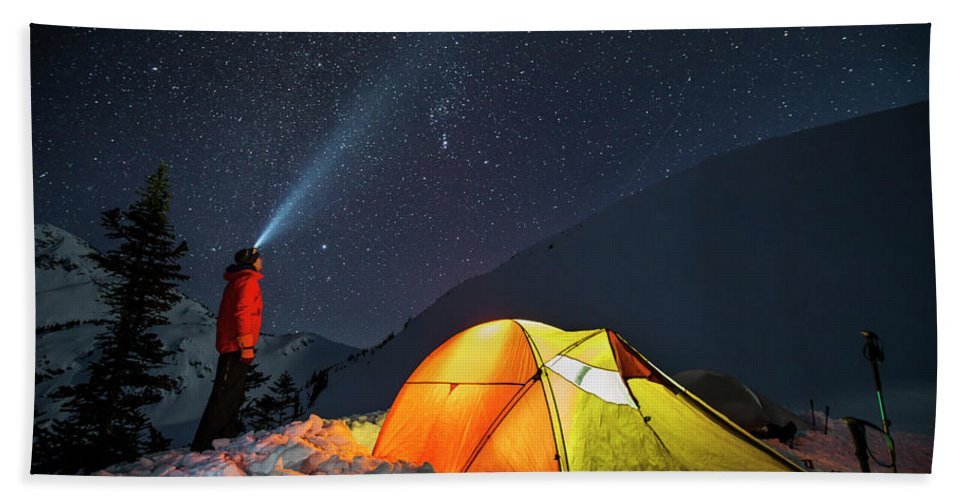 Light Beam Hand Towel featuring the photograph A Single 30-second Exposure Shows by Christopher Kimmel