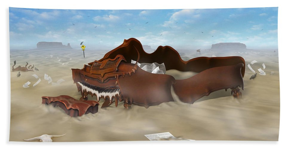 Surrealism Bath Sheet featuring the photograph A Slow Death In Piano Valley by Mike McGlothlen