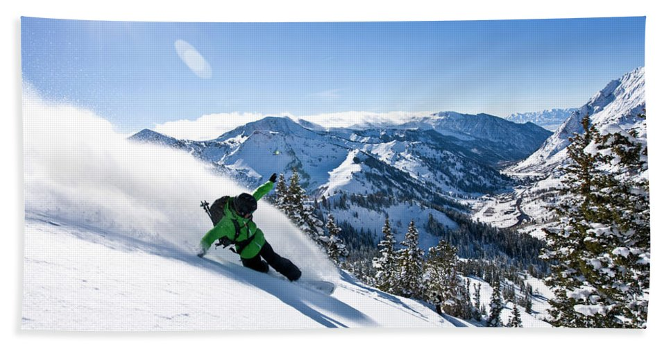 Active Bath Sheet featuring the photograph A Snowboarder Making Some Fresh Tracks by Mike Schirf