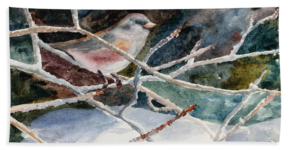 Birds Bath Sheet featuring the painting A Snowy Perch by Mary Benke