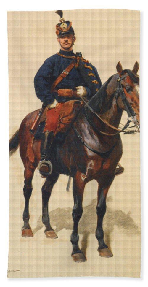 A Soldier Cavalerie Bath Sheet featuring the digital art A Soldier Cavalerie by Jean Baptiste Detaille