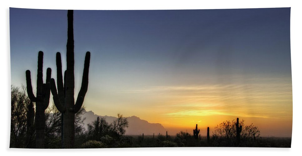 Sunrise Bath Towel featuring the photograph A Sonoran Sunrise by Saija Lehtonen