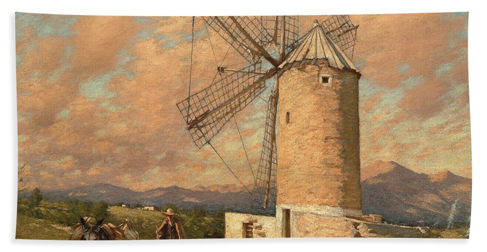 Windmill Bath Sheet featuring the painting A Spanish Mill by Henry Herbert La Thangue