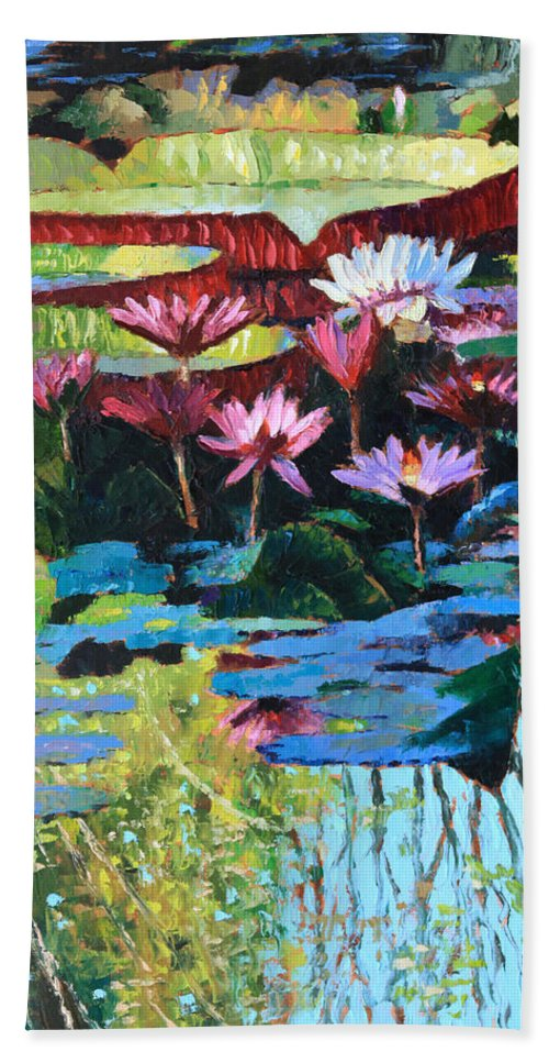 Garden Pond Bath Towel featuring the painting A Splash of Sunlight by John Lautermilch