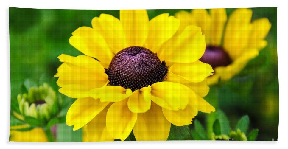 Flowers Bath Sheet featuring the photograph A Splash Of Sunshine by Susie Peek