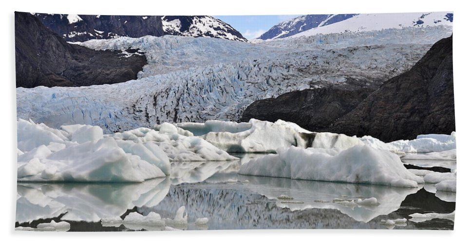 Mendenhall Glacier Hand Towel featuring the photograph A Spring Past by Cathy Mahnke