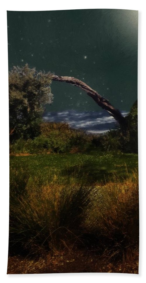 Landscape Hand Towel featuring the painting A Sprinkling Of Stars by RC DeWinter