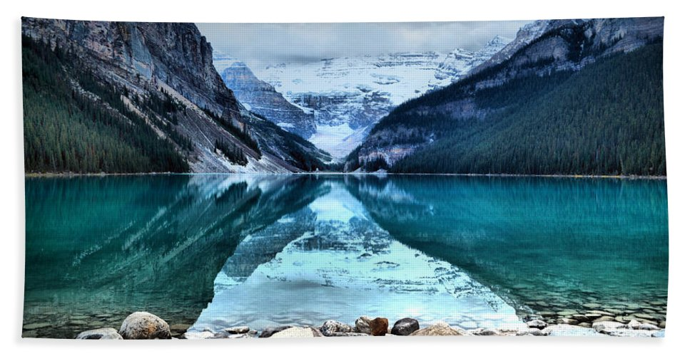 Lake Louise Hand Towel featuring the photograph A Still Day At Lake Louise by Tara Turner